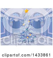 Clipart Of A Beautiful Flocked Christmas Tree In A Palace Interior Royalty Free Vector Illustration