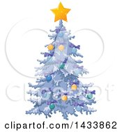 Clipart Of A Beautiful Flocked Christmas Tree Decorated With Purple Bows Baubles And A Star Royalty Free Vector Illustration by Pushkin