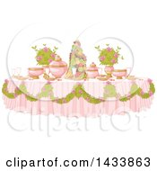 Clipart Of A Pink Princess Dining Table Formally Set With Flowers And Fruit Royalty Free Vector Illustration