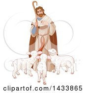 Clipart Of A Loving Shepherd Looking Down At Lambs Royalty Free Vector Illustration