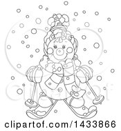 Clipart Of A Cartoon Black And White Lineart Happy Snowman Wearing Winter Accessories And Skiing In The Snow Royalty Free Vector Illustration