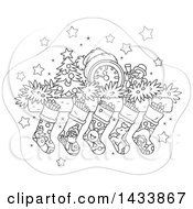 Clipart Of A Cartoon Black And White Lineart Mandle With A Clock Tiny Tree Snowman Garland And Christmas Stockings Royalty Free Vector Illustration