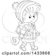 Clipart Of A Cartoon Black And White Lineart School Girl Walking In Winter Apparel Royalty Free Vector Illustration
