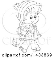 Clipart Of A Cartoon Black And White Lineart School Boy Walking In Winter Apparel Royalty Free Vector Illustration