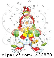 Clipart Of A Cartoon Happy Snowman Wearing Winter Accessories And Skiing In The Snow Royalty Free Vector Illustration