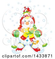Clipart Of A Happy Snowman Dressed In Winter Accessories And Skiing In The Snow Royalty Free Vector Illustration