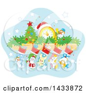 Clipart Of A Mandle With A Clock Tiny Xmas Tree Snowman Garland And Christmas Stockings Royalty Free Vector Illustration