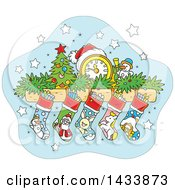 Clipart Of A Cartoon Mandle With A Clock Tiny Christmas Tree Snowman Garland And Stockings Royalty Free Vector Illustration by Alex Bannykh