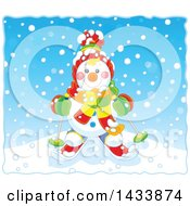 Clipart Of A Happy Snowman Dressed In Winter Accessories And Skiing On A Snowy Day Royalty Free Vector Illustration