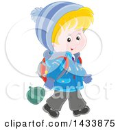 Clipart Of A Cartoon Happy Blond White School Boy Walking In Winter Apparel Royalty Free Vector Illustration