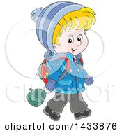 Clipart Of A Cartoon Happy Blond Caucasian School Boy Walking In Winter Apparel Royalty Free Vector Illustration by Alex Bannykh