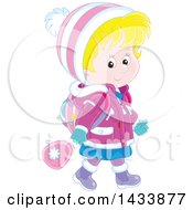 Clipart Of A Happy Blond White School Girl Walking In Winter Apparel Royalty Free Vector Illustration