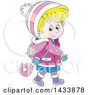 Clipart Of A Cartoon Happy Blond Caucasian School Girl Walking In Winter Apparel Royalty Free Vector Illustration by Alex Bannykh