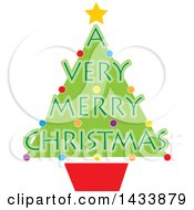 Clipart Of A Potted Tree With A Very Merry Christmas Text Royalty Free Vector Illustration