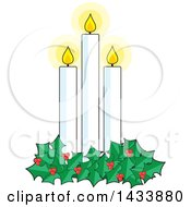 Holly Garland Around Three Lit Christmas Candles