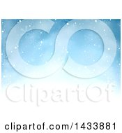 Winter Christmas Background Of Snow And Flakes On Blue