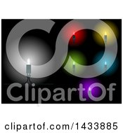 Colorful LED String Christmas Light Icons On Black