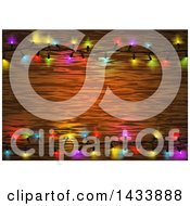 Clipart Of A Frame Of Colorful String Christmas Lights Around Wood Text Space Royalty Free Vector Illustration by dero