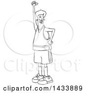 Clipart Of A Cartoon Black And White Lineart Male Protester Holding Up A Fist And Shouting Royalty Free Vector Illustration