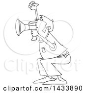 Clipart Of A Cartoon Black And White Lineart Male Protester Shouting Into A Megaphone Royalty Free Vector Illustration