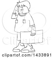 Clipart Of A Cartoon Black And White Lineart Confused Boy Protestor Holding A Sign Royalty Free Vector Illustration
