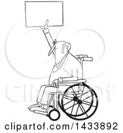 Clipart Of A Cartoon Black And White Lineart Senior Male Protester In A Wheelchair Holding Up A Sign Royalty Free Vector Illustration