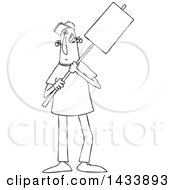 Clipart Of A Cartoon Black And White Lineart Male Protester Holding A Sign Royalty Free Vector Illustration