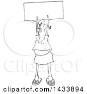 Clipart Of A Cartoon Black And White Lineart Female Protester Holding Up A Sign And Shouting Royalty Free Vector Illustration