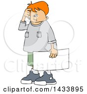 Clipart Of A Cartoon Confused White Boy Protestor Holding A Sign Royalty Free Vector Illustration