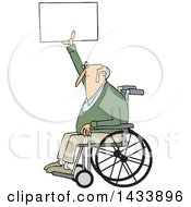 Cartoon White Senior Male Protester In A Wheelchair Holding Up A Sign