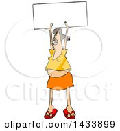 Clipart Of A Cartoon White Female Protester Holding Up A Sign And Shouting Royalty Free Vector Illustration