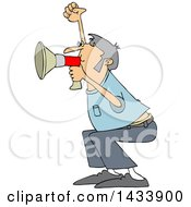 Cartoon White Male Protester Shouting Into A Megaphone