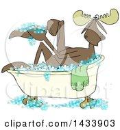 Cartoon Moose Washing Up In A Bubble Bath