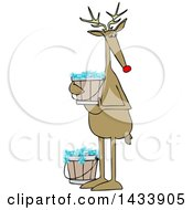 Clipart Of A Cartoon Christmas Reindeer Holding A Bucket Of Bubbly Water Royalty Free Vector Illustration by djart