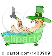 Cartoon St Patricks Day Leprechan Lifting A Leg And Soaking In A Bubble Bath
