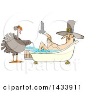 Clipart Of A Cartoon Thanksgiving Turkey Bird Holding A Bucket By A Pilgrim Man Lifting Up A Leg While Soaking In A Bubble Bath Royalty Free Vector Illustration