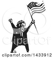 Clipart Of A Black And White Woodcut Angry Man Shouting And Holding An American Flag Royalty Free Vector Illustration