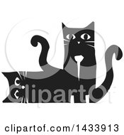 Clipart Of A Black And White Woodcut Pair Of Cats One Laying On Its Side The Other Sitting Royalty Free Vector Illustration
