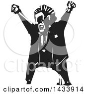 Clipart Of A Black And White Woodcut Angry Man Shouting Royalty Free Vector Illustration