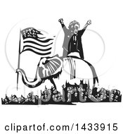 Clipart Of A Black And White Woodcut Angry Man Shouting On Top Of An Elephant Holding The American Flag In The Middle Of A Crowd Of Protestors Royalty Free Vector Illustration