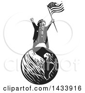 Clipart Of A Black And White Woodcut Angry Man Shouting And Holding An American Flag On Top Of Planet Earth Royalty Free Vector Illustration
