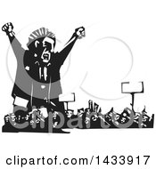 Clipart Of A Black And White Woodcut Angry Man Shouting Over A Crowd Of Protesters Royalty Free Vector Illustration