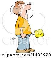 Cartoon Caucasian Man Holding A Swatter With A Fly On His Nose