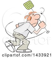 Clipart Of A Cartoon Angry Caucasian Man Trying To Swat A Fly Royalty Free Vector Illustration