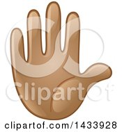 Clipart Of A Cartoon Emoji Hand Counting 5 Gesturing Stop Or Raised Royalty Free Vector Illustration