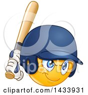 Clipart Of A Cartoon Emoji Yellow Smiley Face Emoticon Baseball Player Batting Royalty Free Vector Illustration