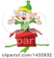 Clipart Of A Cartoon Surprise Christmas Elf Popping Out Of A Gift Box Royalty Free Vector Illustration by yayayoyo