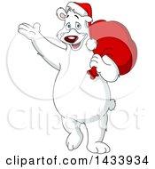 Clipart Of A Cartoon Polar Bear Santa Waving And Carrying A Sack Over His Shoulder Royalty Free Vector Illustration