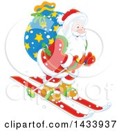 Clipart Of Santa Skiing With A Christmas Sack Royalty Free Vector Illustration