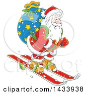 Clipart Of A Cartoon Santa Claus Skiing With A Christmas Sack Royalty Free Vector Illustration